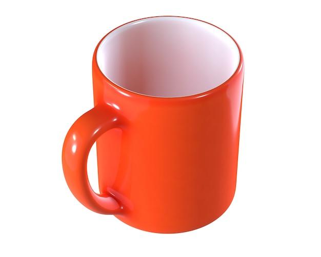 D render do copo vermelho isolado no branco