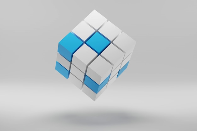 D render do cubo feito de pequenos blocos conceito de negócio de fundo abstrato