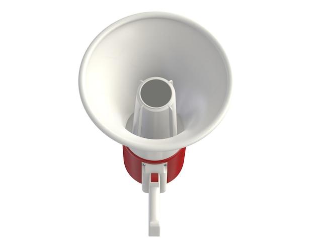 D render do megafone elétrico isolado no branco