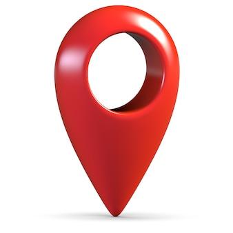 D render do pino geográfico do mapa vermelho isolado no branco