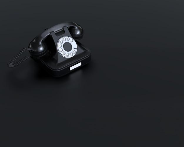 D render do telefone preto retro rotativo no fundo plano preto