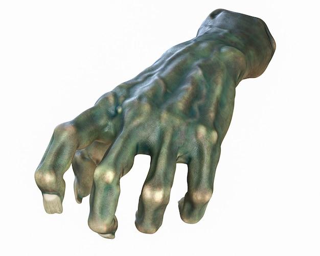 D render do tema do dia das bruxas cutted zombie hand