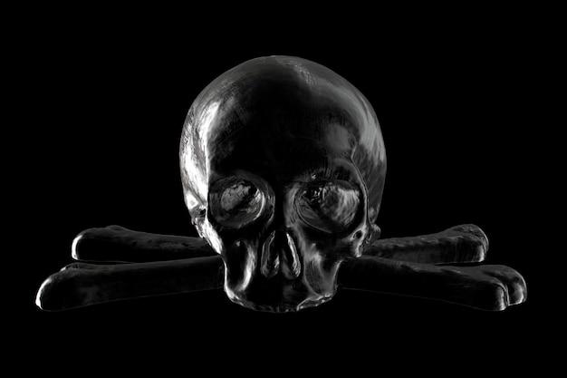 D renderização de caveira preta em fundo preto
