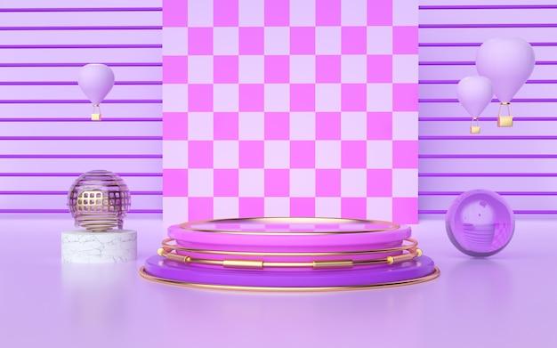 D renderização de fundo geométrico abstrato com cortinas coloridas para exibições de produtos