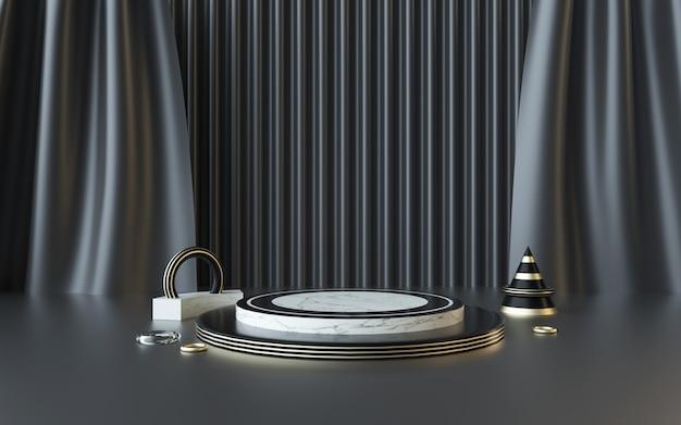 D renderização de plataforma geométrica abstrata com cortinas para exposição de produtos