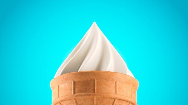 D renderização de sorvete de close up em fundo azul
