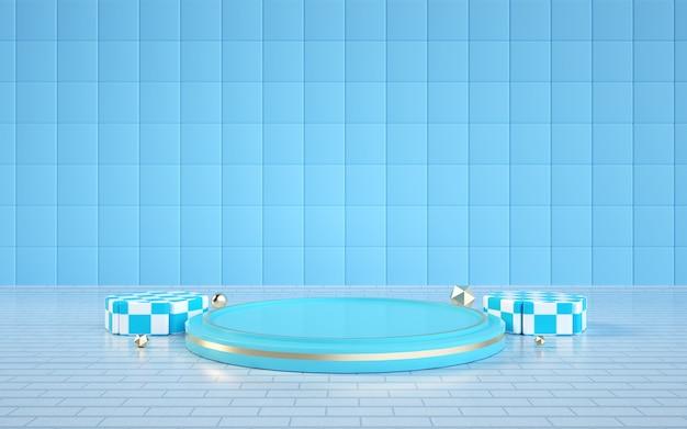 D renderização de um fundo geométrico abstrato azul claro com um pódio para uma exibição cosmética