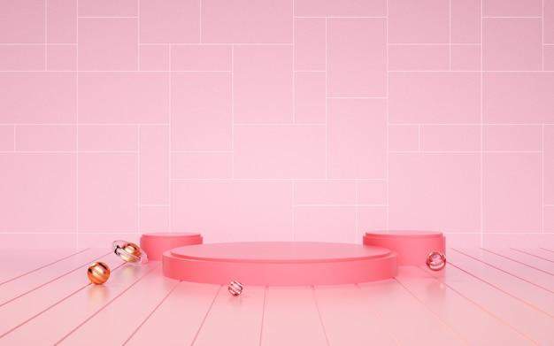 D renderização de um fundo geométrico abstrato rosa com um pódio para uma exibição de cosméticos