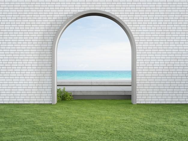 D renderização do portão em arco no gramado verde com vista para o mar
