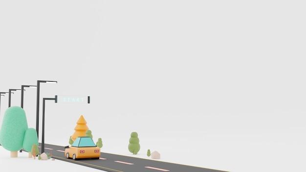 D renderizado texto inicial em longa estrada com campo verde e paisagem de céu azul de verão