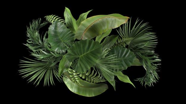 D renderizar a composição de plantas tropicais em um fundo preto