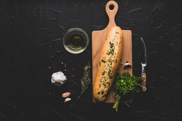 Da vista acima do ingrediente para o pão