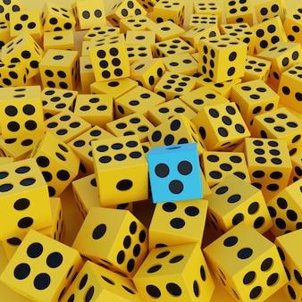Dados amarelos de ilustração 3d e um azul