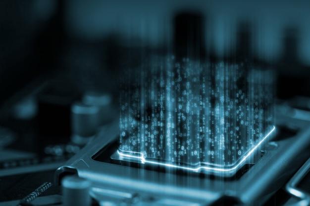Dados binários digitais no microchip com placa de circuito de brilho