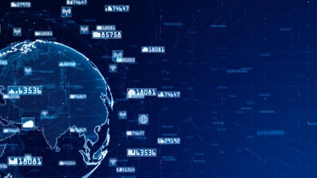Dados da rede de digitas e conceito da rede de comunicação. fonte original do mundo da nasa