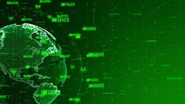 Dados da rede de digitas e fundo do sumário do conceito da rede de comunicação. fonte original do mundo da nasa