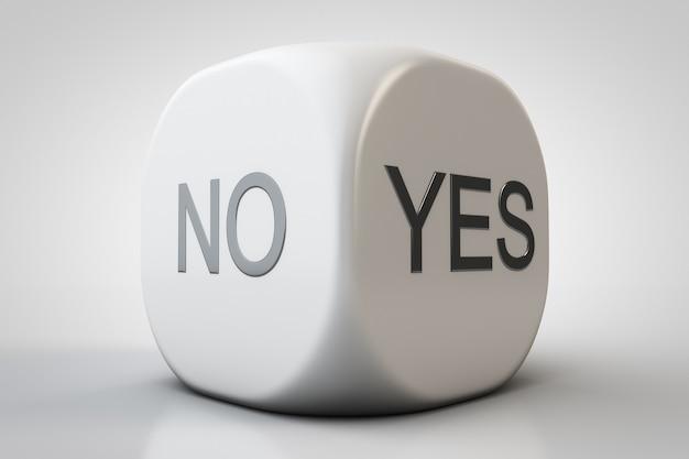 Dados de close-up com opções de resposta. a resposta é sim ou não.