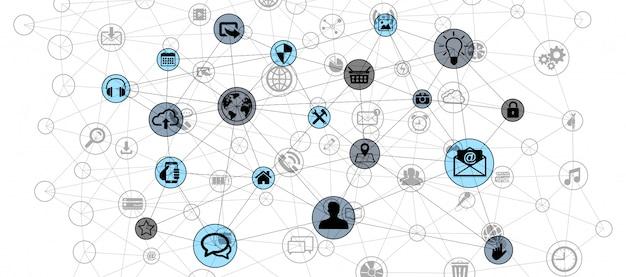 Dados de conexão de tecnologia de círculo web renderização em 3d