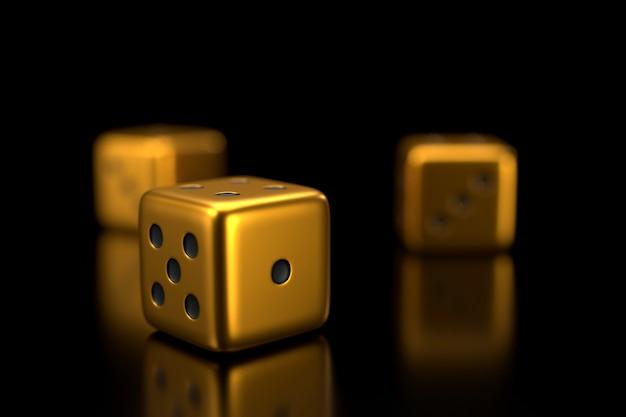 Dados de ouro. renderização em 3d.