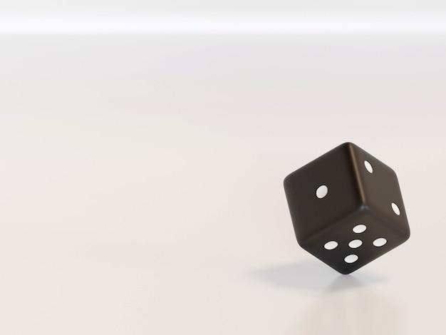Dados de renderização 3d com pontos pretos pendurados em meia volta, mostrando números diferentes. dados da sorte