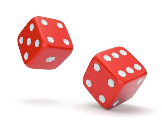 Dados de rolamento vermelhos isolados no fundo branco. conceito de jogo, jogos de tabuleiro, casino e sorte. ilustração 3d