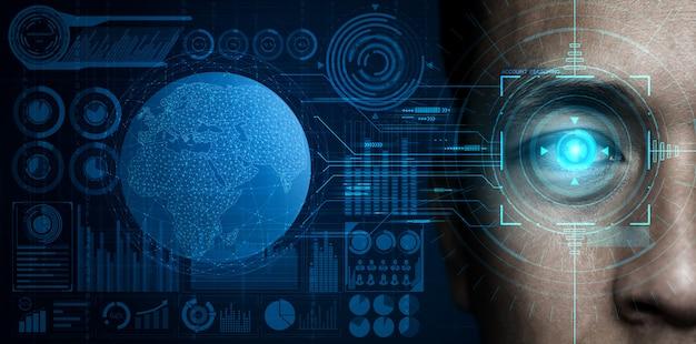 Dados de segurança futuros por varredura ocular biométrica.