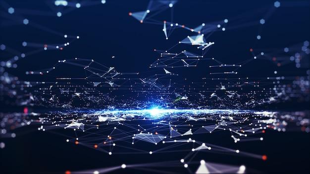 Dados digitais de conexão de tecnologia e conceito de big data. pontos e linhas abstratas conectam o fundo. forma futurista. fundo abstrato gerado por computador. renderização 3d.