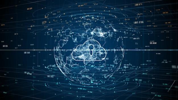 Dados digitais de segurança cibernética de futurística e tecnologia
