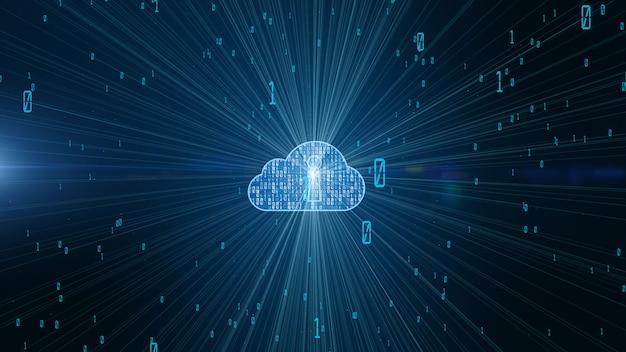 Dados digitais de segurança cibernética e olhar futurista conceitual em tecnologia da informação de computação em nuvem de grande volume de dados usando inteligência artificial ai