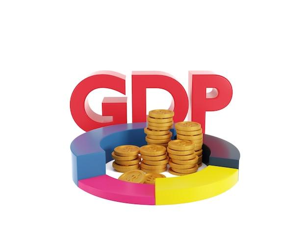 Dados do gráfico de setores do produto interno bruto pilha de moedas