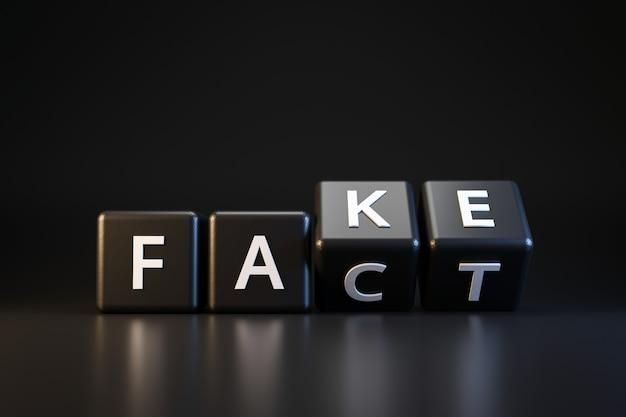Dados e fatos pretos ou falsificados com o dia dos enganados no escuro. comunicação enganosa e mutável. dia da mentira de abril. render 3d realista.