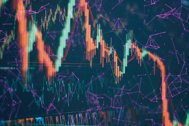 Dados financeiros em um monitor que inclui análise de mercado. gráficos de barras, diagramas, dados financeiros. papel de parede abstrato da interface do gráfico forex brilhante. investimento, comércio, estoque, finanças