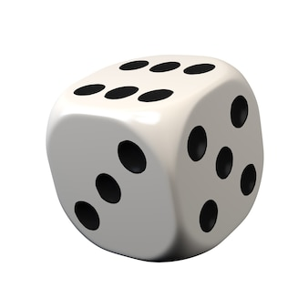 Dados isolados no fundo branco jogos de azar. ilustração 3d.