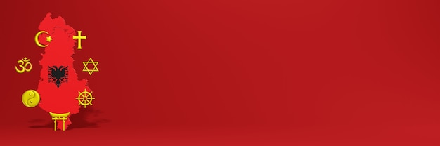 Dados sobre a distribuição de religião e diversidade de pluralismo na albânia para capas de sites