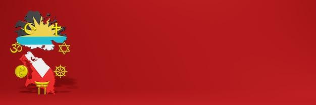 Dados sobre a distribuição de religião e diversidade de pluralismo na antiqua barbuda para capa do site