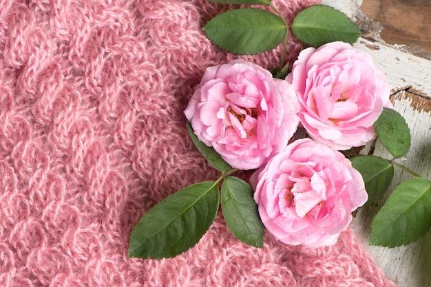 Damasco rosa flores em uma velha superfície natural.
