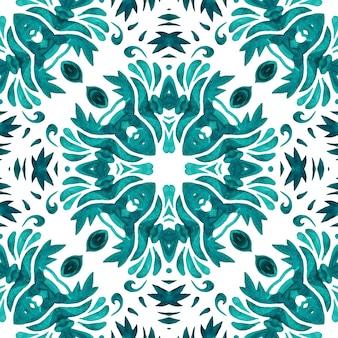 Damasco sem costura ornamental aquarela pintura arabesco padrão de azulejo para cerâmica e decoração de parede.