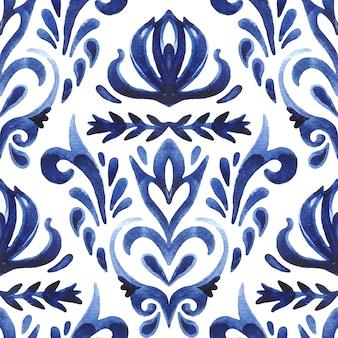 Damasco sem costura ornamental aquarela pintura arabesco padrão de telha para decoração de tela e parede.