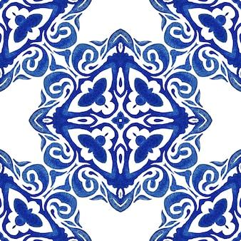 Damasco vintage sem costura azulejo holandês azulejo ornamental aquarela arabesco design padrão para a tela.