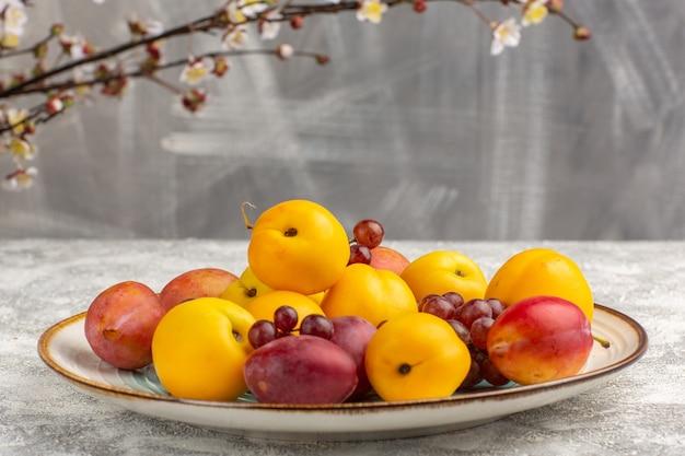 Damascos doces frescos com ameixas e uvas dentro do prato na mesa branca