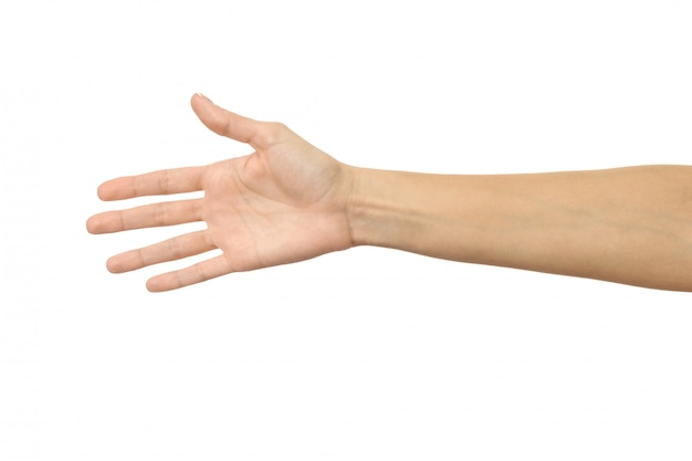 Dando a mão para um aperto de mão. mão de mulher gesticulando isolado no branco