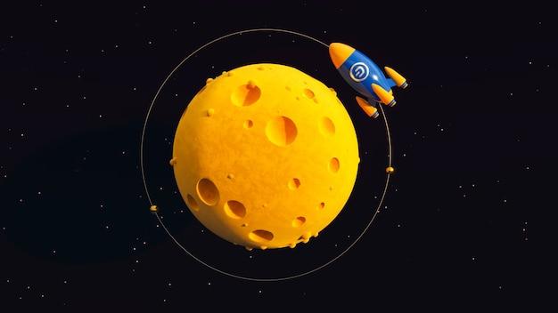 Dash to the moon. ilustração crypto rocket 3d.