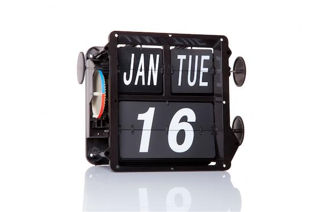 Data retro do calendário mecânico, 16 de janeiro, no dia nacional da liberdade religiosa.