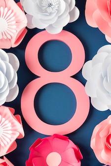 Data rodeada de flores para o dia da mulher