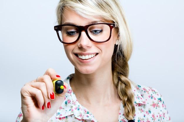 Datilógrafo adulto óculos felicidade única