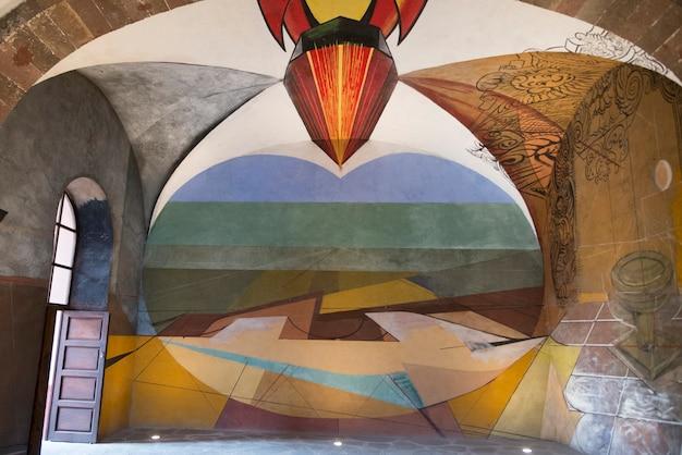 David alfaro siqueiros murais na escola universitária de belas artes, san miguel de allende, guanajuato,