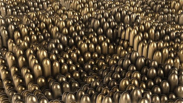 De cilindros arredondados em ouro