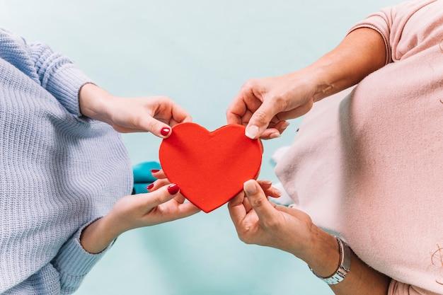 De cima mulheres segurando coração
