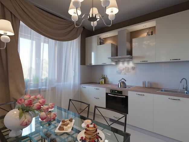 De cozinha com fachadas bege e móveis de forjamento