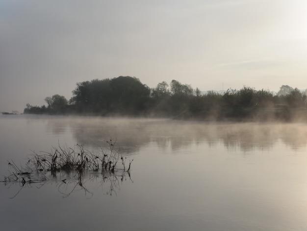De manhã cedo. rio. a névoa se arrasta na superfície da água.